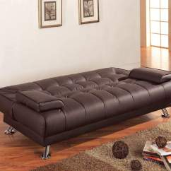 Rome Faux Leather Convertible Sofa Bed Brown Cheap Beds With Removable