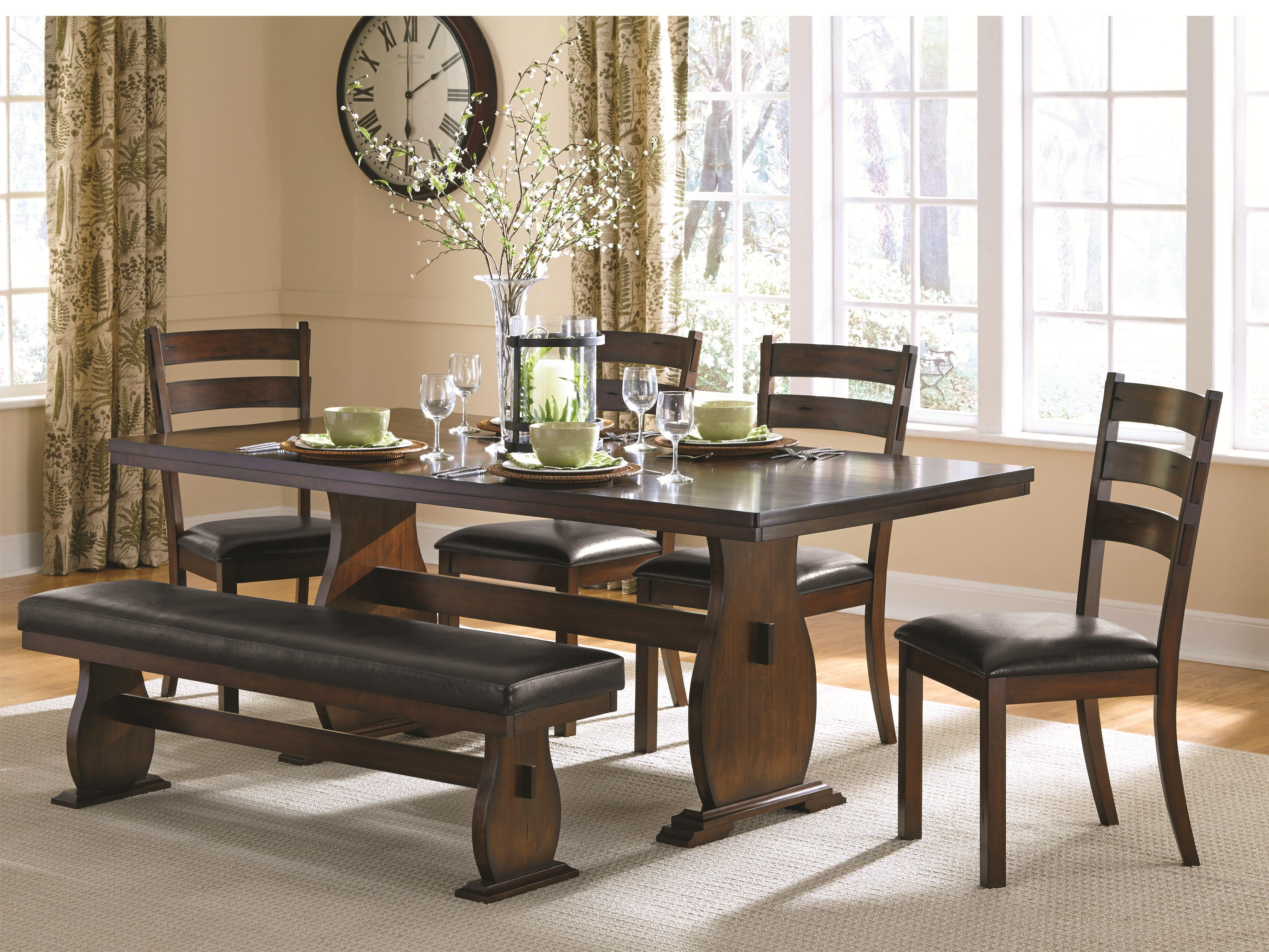 Campbell Trestle Table with 4 Side Chairs and Dining Bench