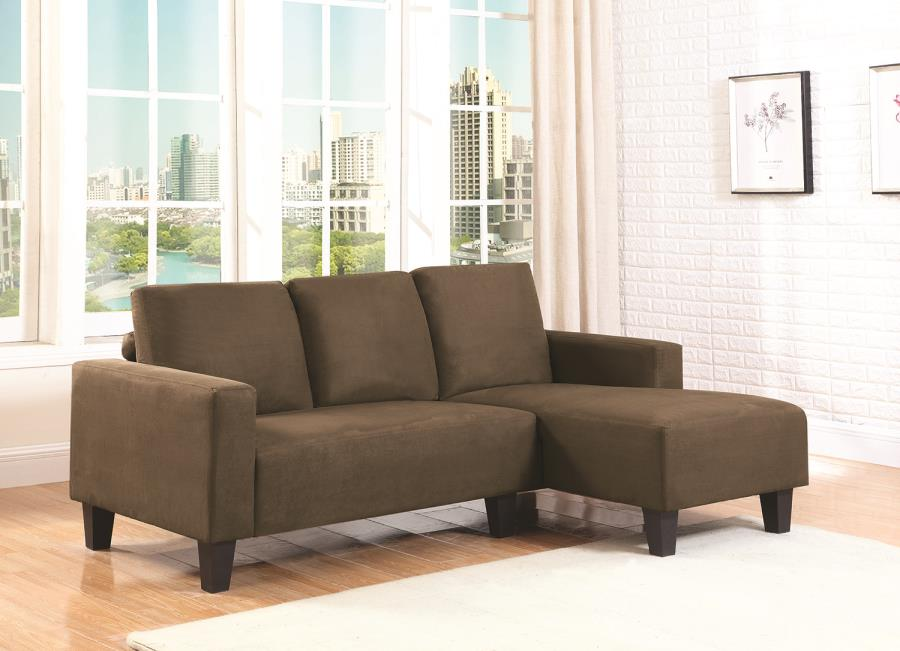 living room with sofa and two accent chairs simple elegant design sothell contemporary brown microfiber sectional ...