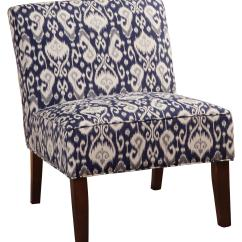Navy And White Chair Playroom Table Chairs Accent Seating Armless In Ikat