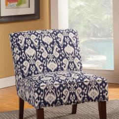 Navy And White Chair Huge Pillow Accent Seating Armless In Ikat
