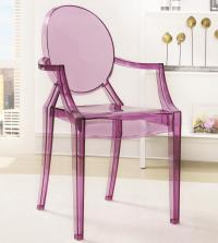 Accent Seating Stackable Clear Purple Chair with Round ...