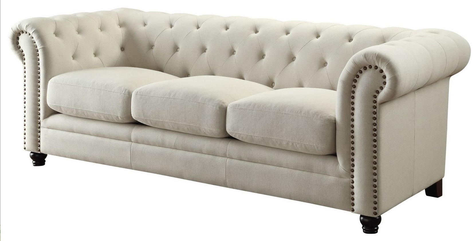 Roy Traditional Oatmeal Linen Blend Sofa  Quality