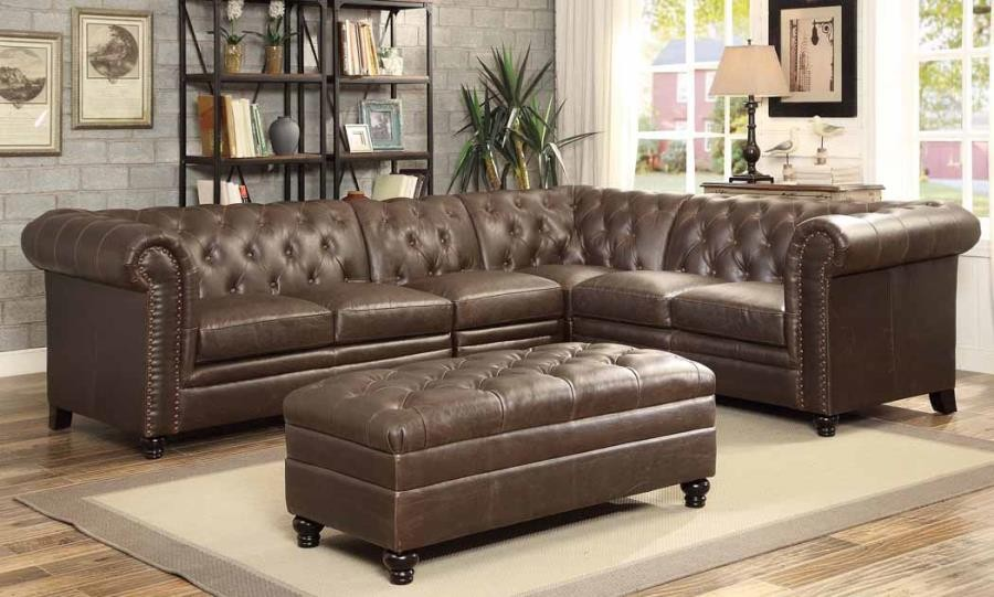 best sectional sofa reviews shallow foundation ysis roy brown leather traditional with tufted rolled ...