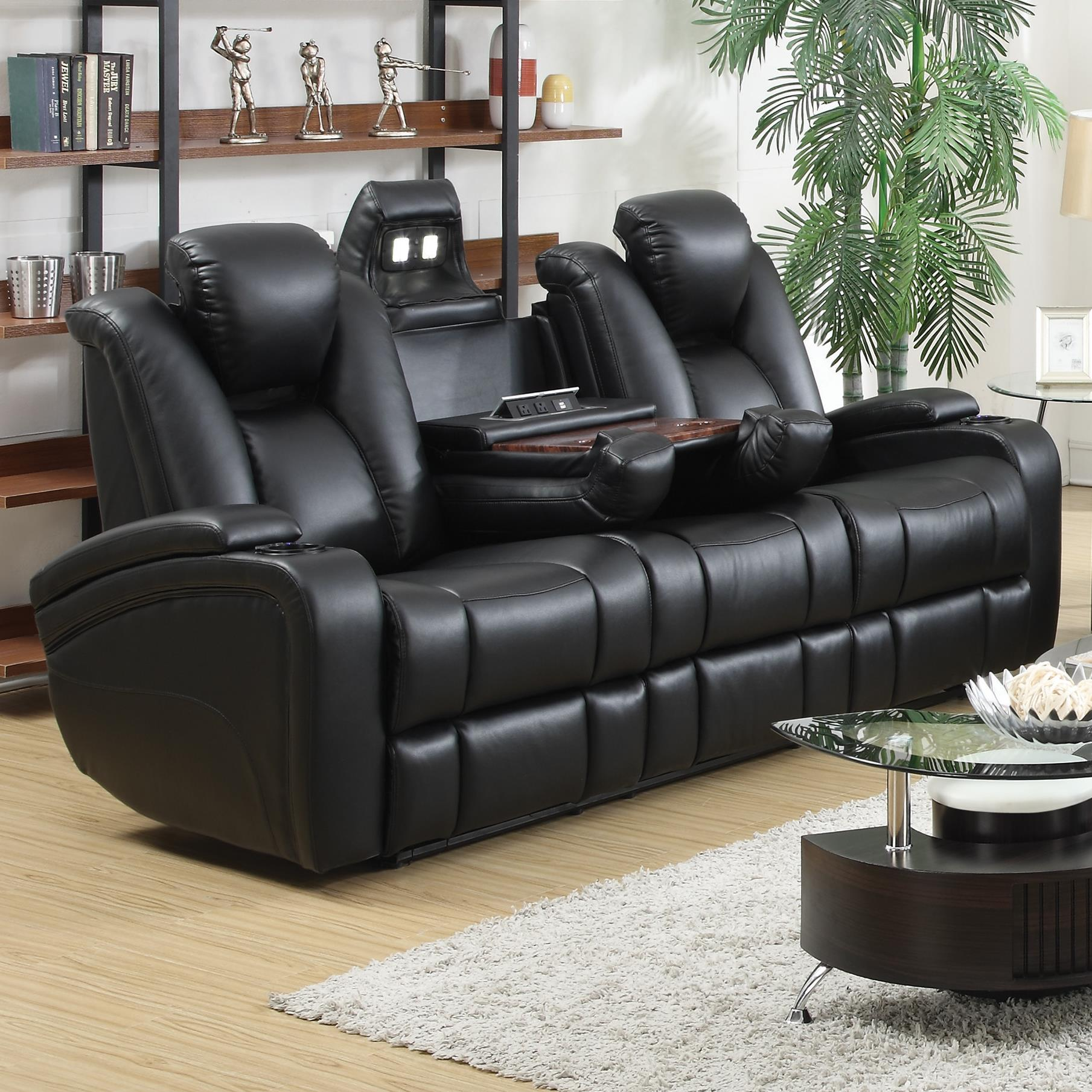 leather power reclining sofa and loveseat sets grey sofas uk delange theater seats with