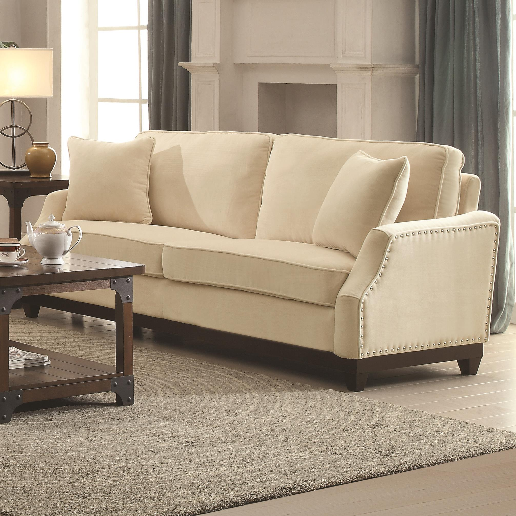 how to clean fabric sofa arms bedroom designs acklin transitional with nail head trim and track