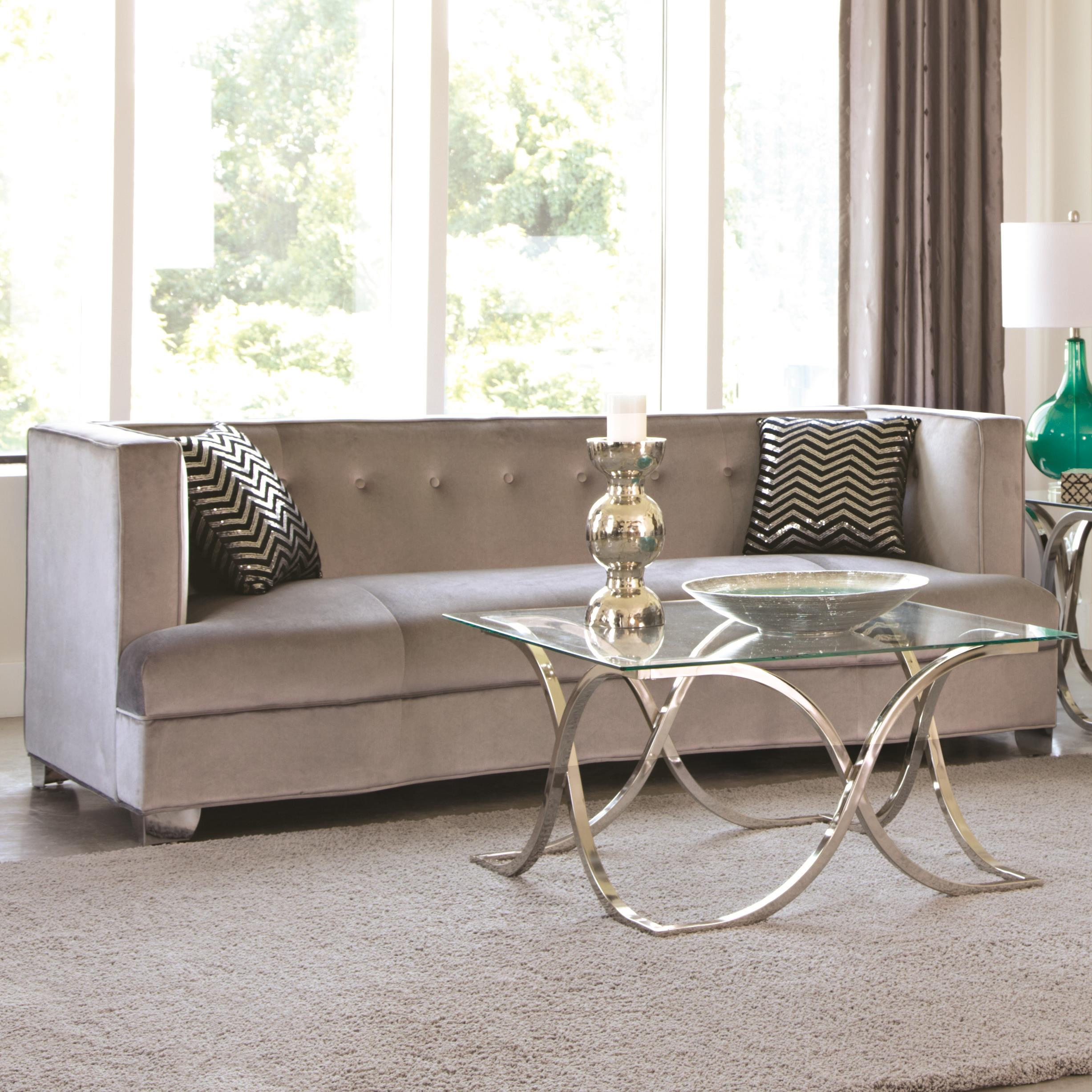 silver grey sofa what colour walls less than 30 inches deep caldwell velvet with chrome legs and two