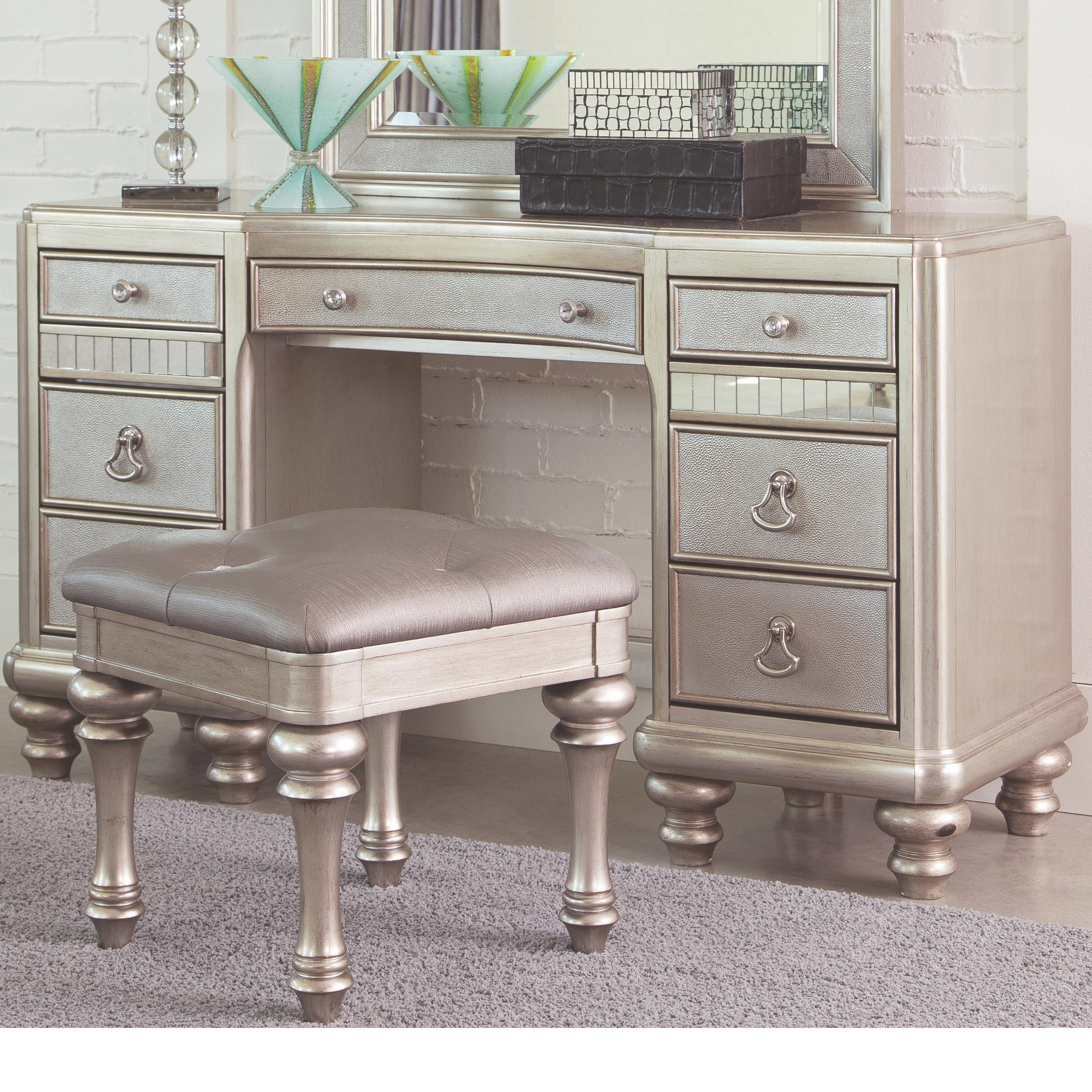 Vanity With Mirror And Chair Bling Game Vanity Desk With 7 Drawers And Stacked Bun Feet