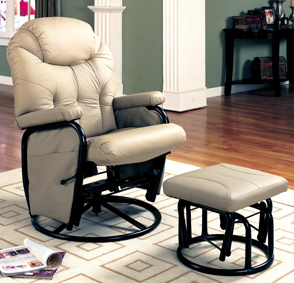 glider recliner chair with ottoman black and white striped chairs recliners ottomans deluxe swivel matching
