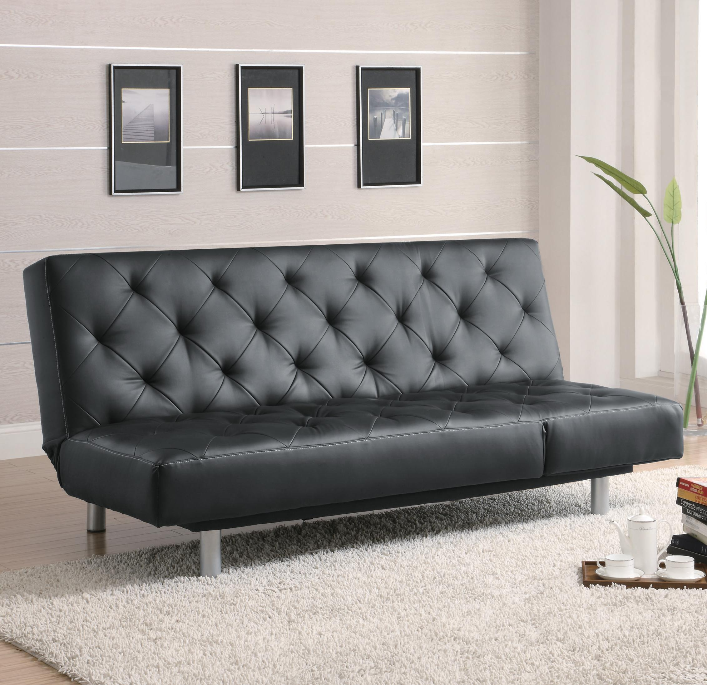 black vinyl futon sofa emerald beds and futons  tufted bed