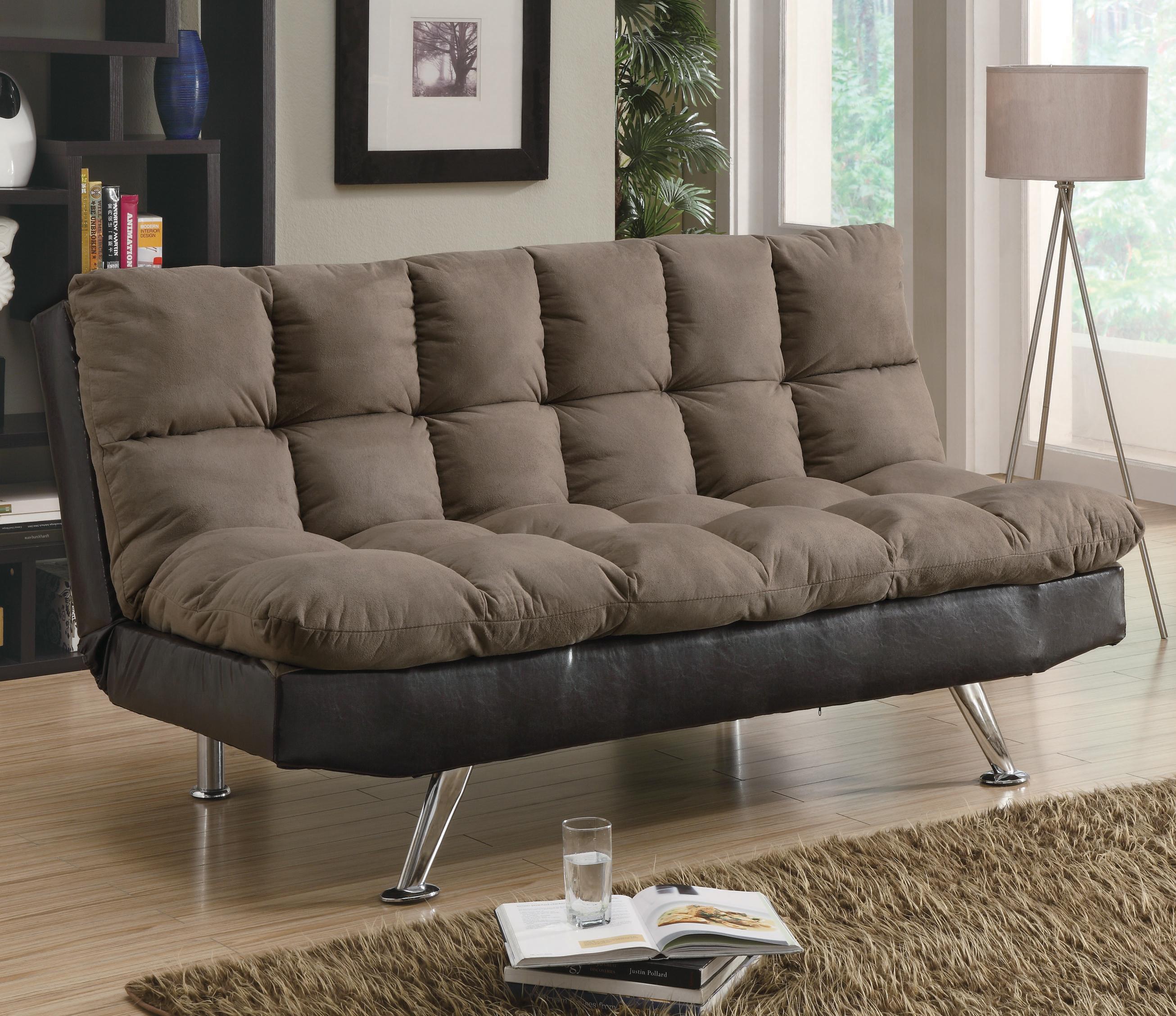 Sofa Beds and Futons  Contemporary Brown MicrofiberDark