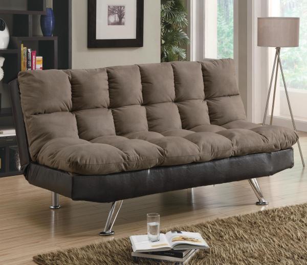 Sofa Beds And Futons Contemporary Brown Microfiber Dark