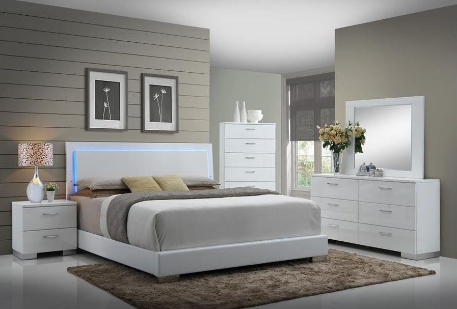 FELICITY GLOSSY WHITE WITH LED LIGHTING King BED  Quality furniture at affordable prices in