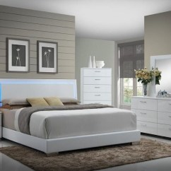 Sofa Furniture Store Bed In Mumbai Felicity Glossy White With Led Lighting King | Quality ...
