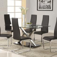 Black Dining Room Chairs With Chrome Legs Adirondack Chair Kits Modern Faux Leather