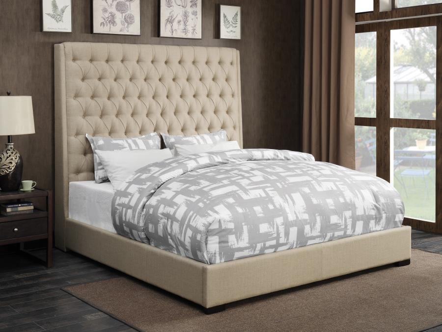 Camille Contemporary Cream Fabric Button Tufted Upholstered Bed in King Size  Quality furniture