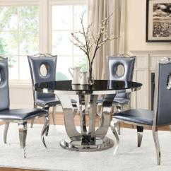Dining Table And Sofa In Living Room Creative Ideas For Covers Blasio Glam Five Piece Set With Round ...