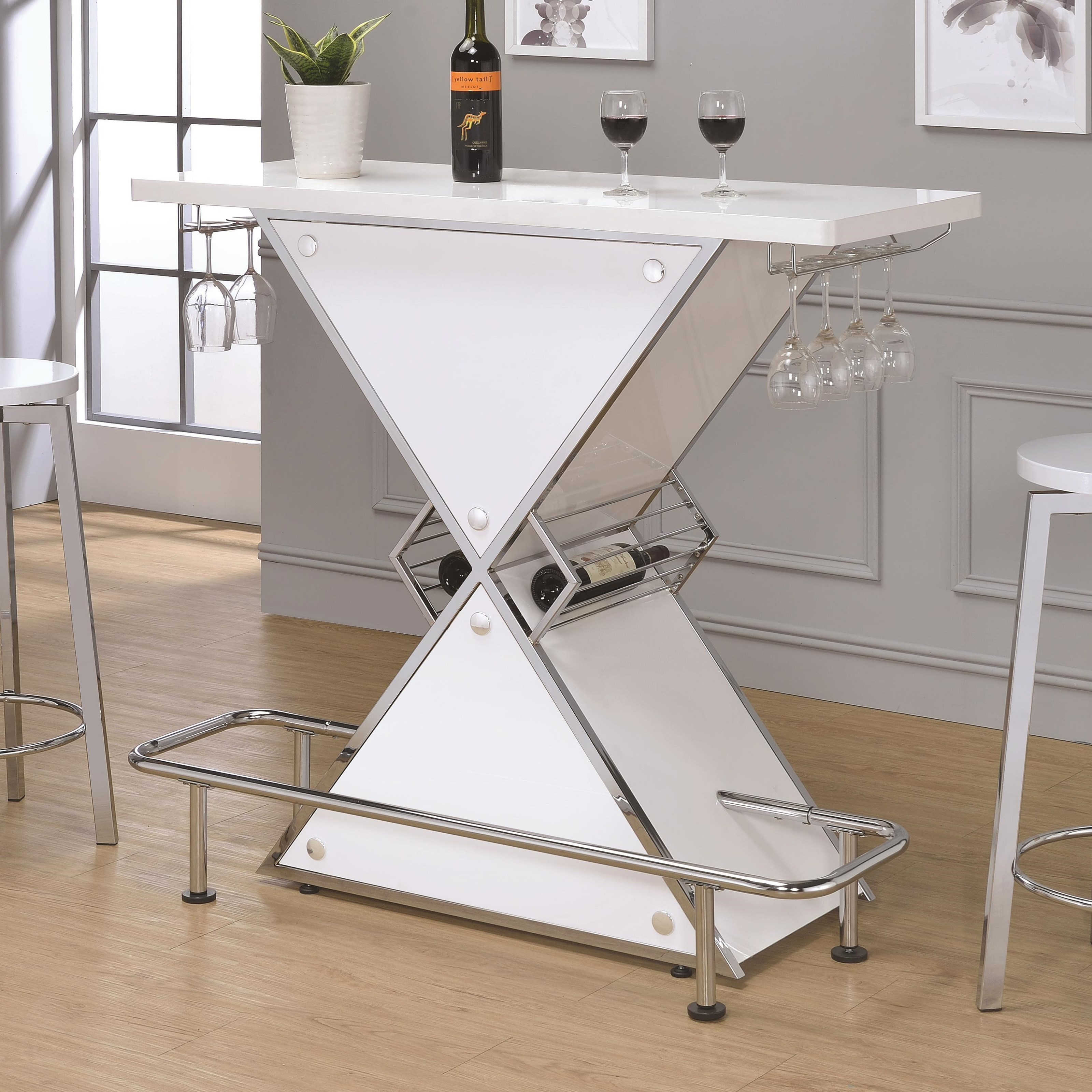 X SHAPED ACRYLIC BAR UNIT TABLE WINE STEMWARE RACK GLOSSY WHITE Quality Furniture At