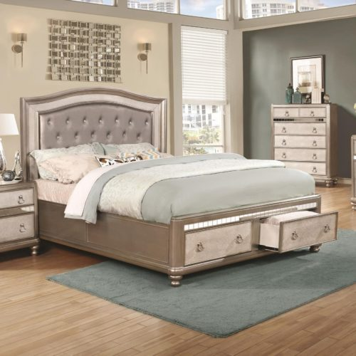 Bling Game Upholstered Queen Bed with Storage Footboard