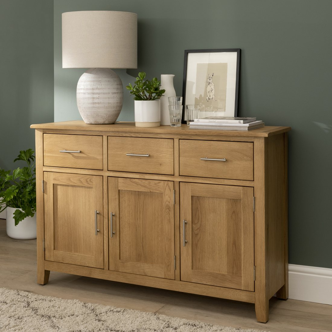 Sideboard Modern Oak City - Nebraska Modern Oak 3 Doors 3 Drawer Sideboard - Furniture World