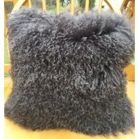 "Mongolian Lamb fur pillow Dark Grey 16""x16"" - Beautifur"