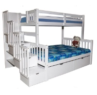 Sca Flamingo Stairway Twin Over Full Bunk Bed White