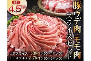 【2位】豚ウデ肉・豚モモ肉スライスセット4.5㎏