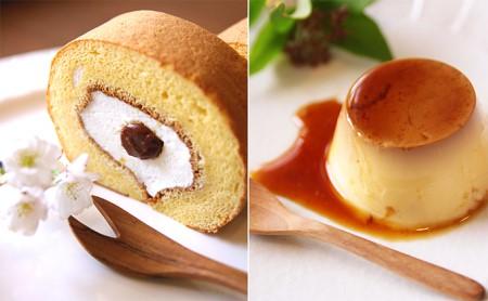 平飼い有精卵で作るロールケーキショートサイズとプリン2個 イメージ
