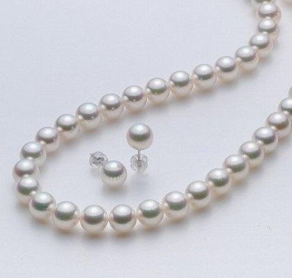【8.0-8.5mm】アコヤ本真珠ネックレスとピアスセット(A) イメージ
