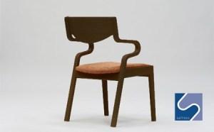 村澤一晃氏デザイン「ダイニングチェア」ウォールナット使用・オレンジの座面
