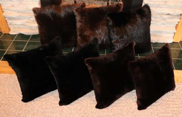Natural and Sheared Beaver Fur Pillows