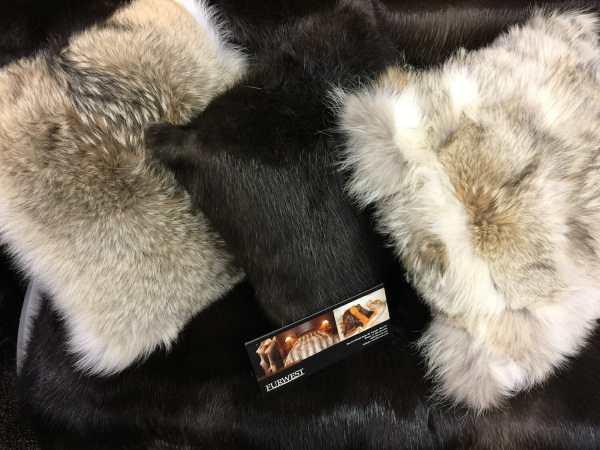 Coyote and Natural Beaver Fur Pillows