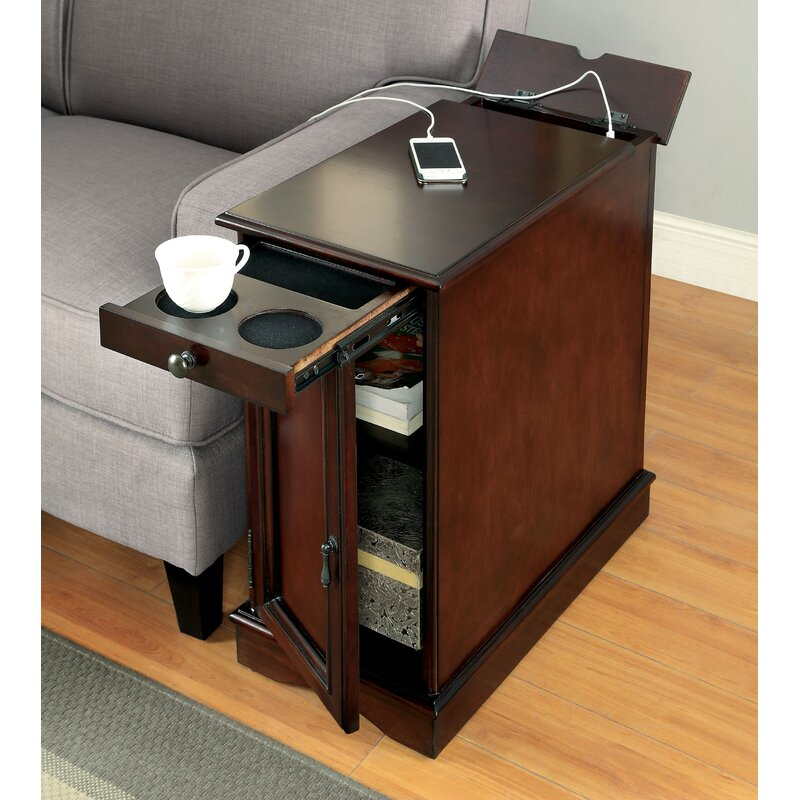 lois multi functional side table with storage charging station usb