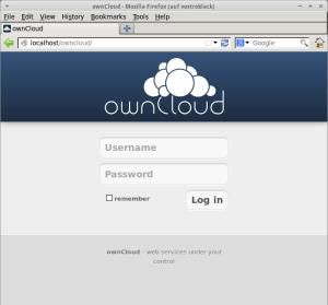 Ein Screenshot von Owncloud auf dem Ubuntu-Server in Firefox.