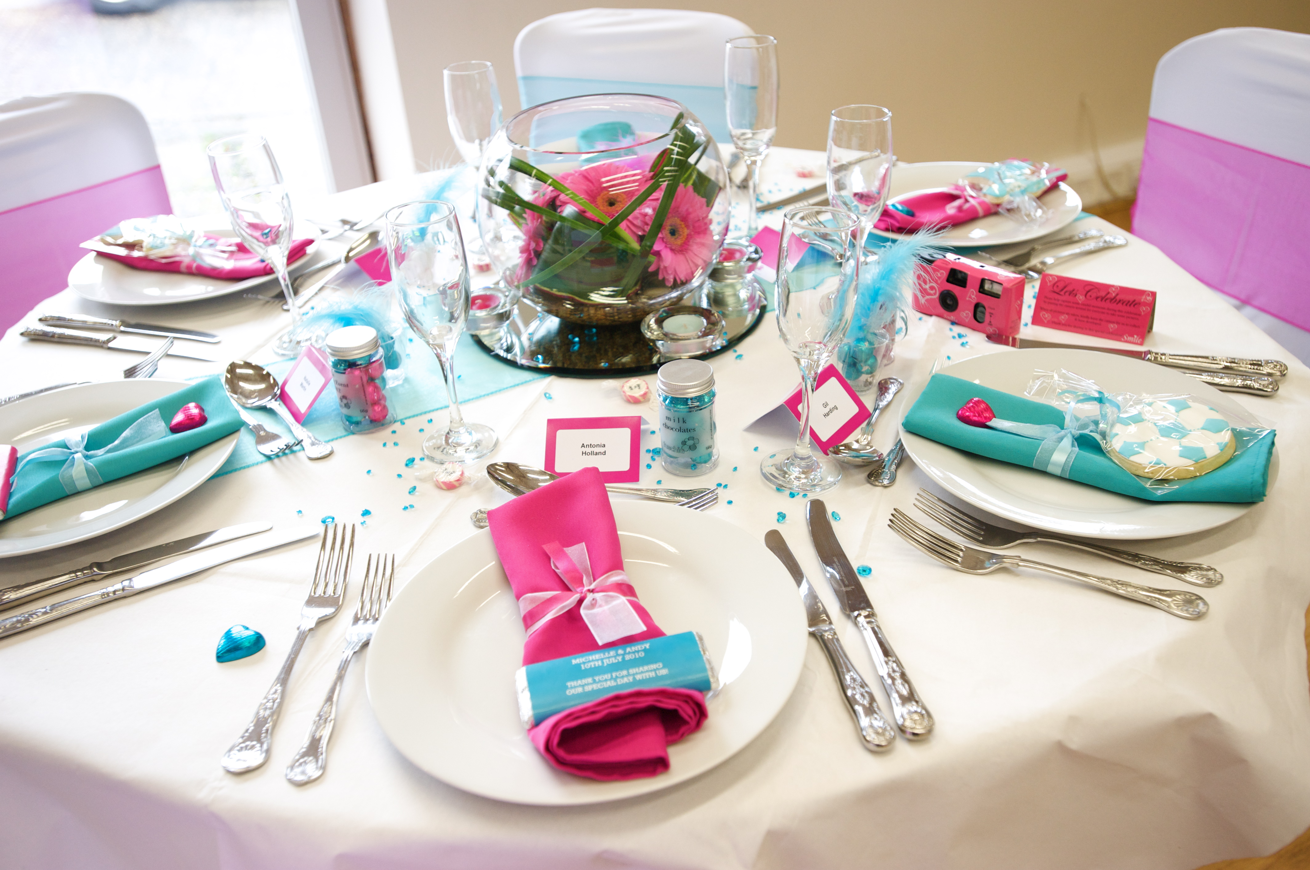 teal chair covers for wedding antique white kitchen table and chairs turquoise pink reception ideas | fuschiadesigns