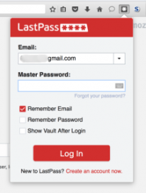 LastPass Login Screen - Screen Capture