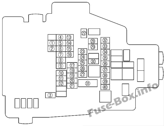 Fuse Box Diagram Mazda 6 (GH1; 2009-2012)