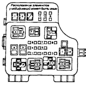 Fuse box diagram Toyota Corona T190 (Carina E) and relay