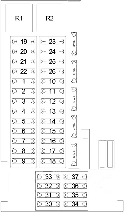 Chrysler Crossfire (2004-2008) Fuse Diagram • FuseCheck.com