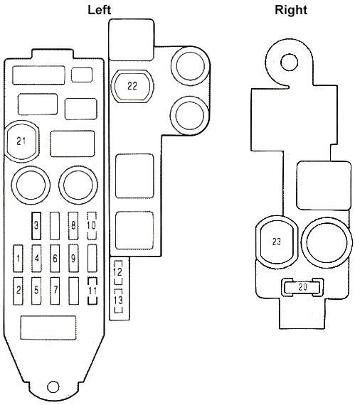 Lexus ES 250 (VZV21) (1989-1991) Fuse Diagram • FuseCheck.com