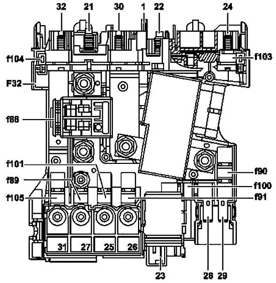 Mercedes-Benz C-Class W204 (2007-2014) Fuse Diagram