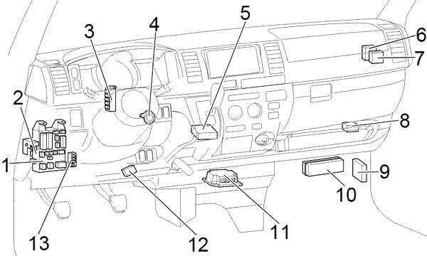 Toyota HiAce (H200) (2004-2013) Fuse Diagram • FuseCheck.com
