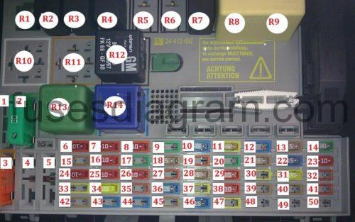 Ac Fuse Box Fuse And Relay Box Diagram Opel Vauxhall Astra G