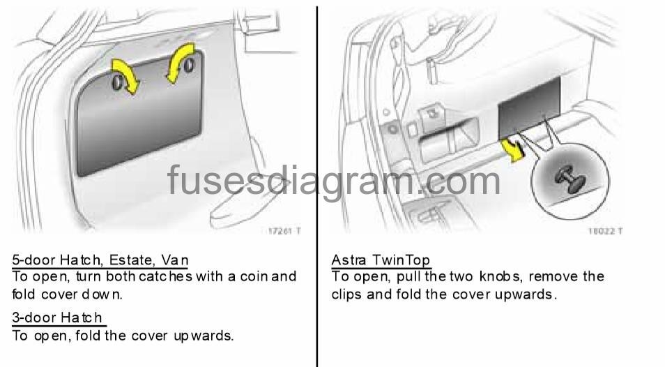 opel astra wiring diagram emergency door release fuses and relays box vauxhall h depending on the equipment version there are two different fuse boxes in luggage compartment for differing electrical circuits