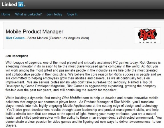 Riot Games mobile product manager job listing
