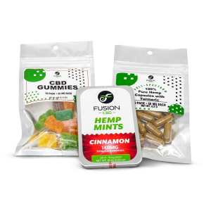 CBD Gummies + Hemp Mints + Pure Hemp Capsules with Tumeric