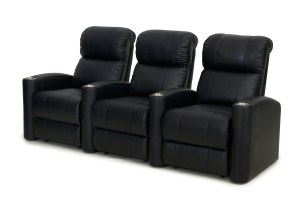 Fusion Collection Encore-1010 home theater recliners - straight set of 3 in BLACK