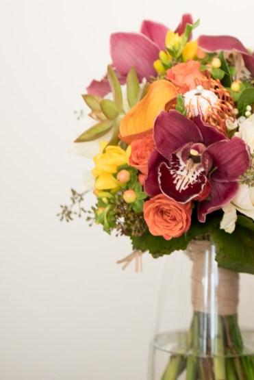 yellow, orange, wine bridal bouquet