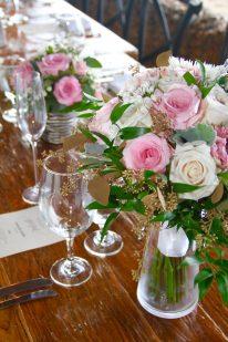 repurposed bouquets serve as reception decor