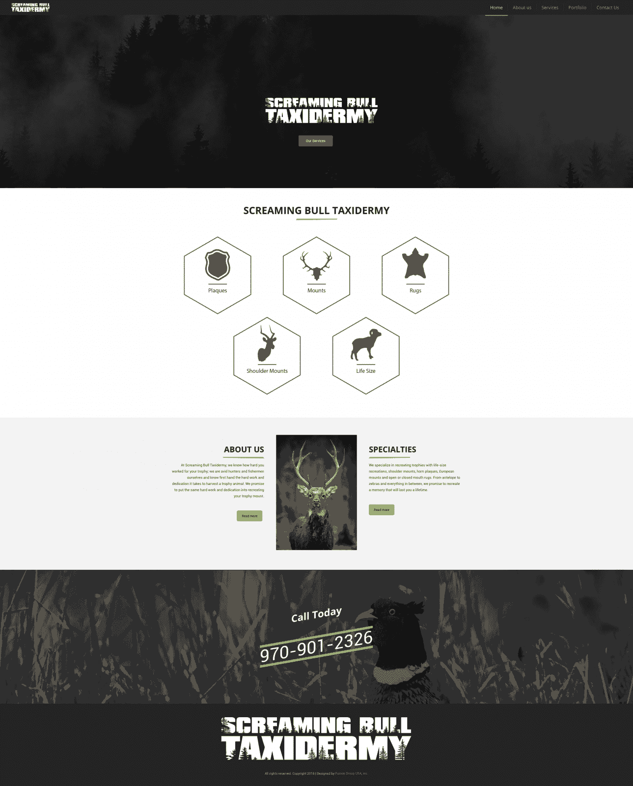 Taxidermy Company Website Design